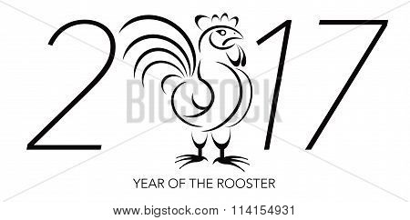 Chinese New Year Rooster With 2017 Numerals Illustration