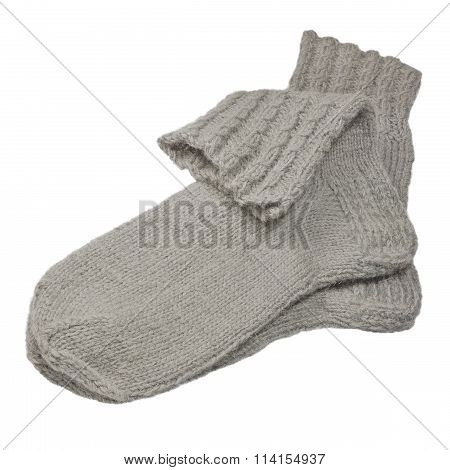 Warm Grey Knitted Woolen Socks, Large Detailed Isolated Macro Closeup, Gray Wool Melange Pair Detail