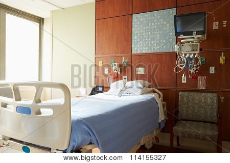 Empty Patient Room In Modern Hospital