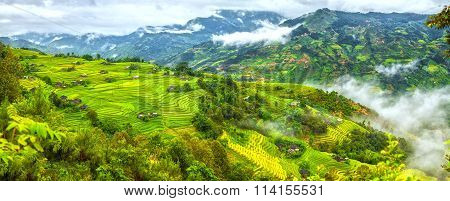 Majestic mountain panorama with terraced mountains of Ha Giang