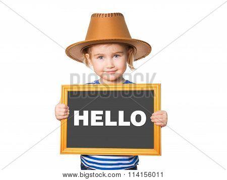 Blackboard. Text Hello