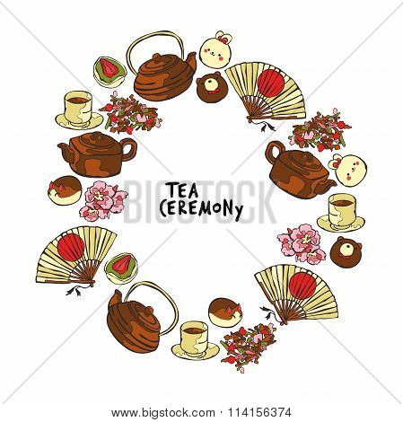 Tea ceremony. Teapot and cup. Cup of tea. Sweets and treats. Fan. Frame - wreath.