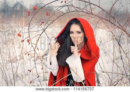 Winter Princess Holding a Secret Making Quiet Gesture