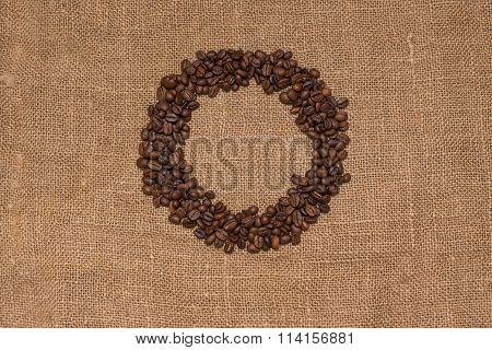 coffee beans burlap fabric