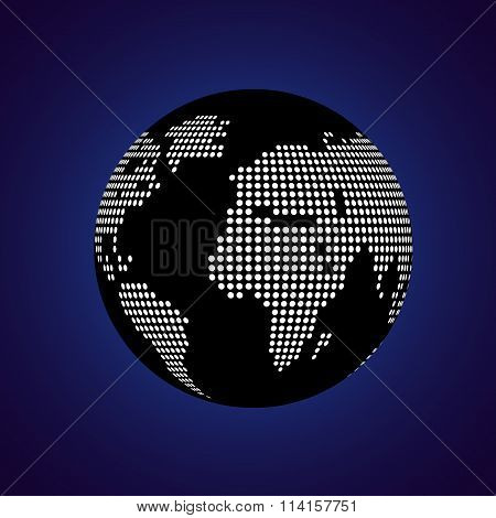 Abstract globe earth of round dots