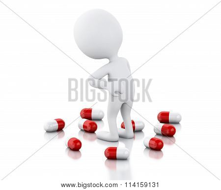 3D White People With Pain Needs Pills.