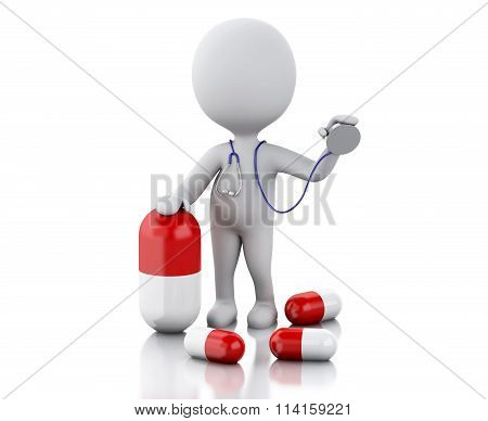 3D People Doctor With A Stethoscope And Pill