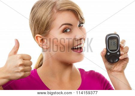Woman Holding Glucometer And Showing Thumbs Up, Checking And Measuring Sugar Level, Concept Of Diabe
