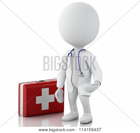 3D People Doctor With A Stethoscope And First Aid Kit.