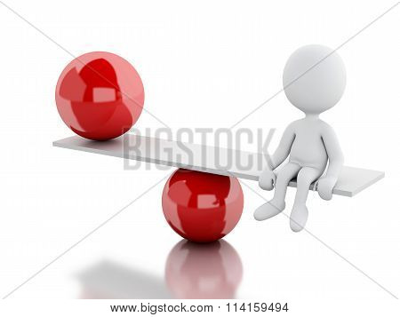 3D White People Equilibrium On Ball