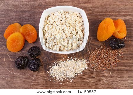 Dried Fruits, Oat Bran, Linseed And Oatmeal In Bowl, Increase Metabolism