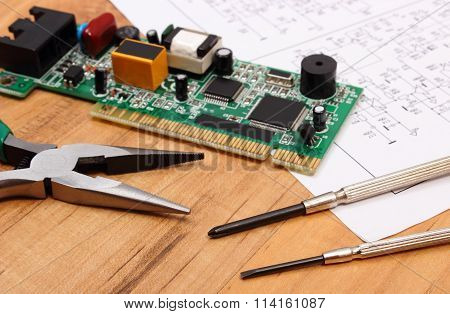 Printed Circuit Board. Precision Tools And Diagram Of Electronics, Technology