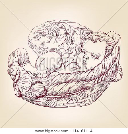 little baby asleep in the wings of an angel hand drawn vector llustration