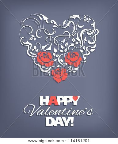 Valentines Day background with lacy heart shape. Vector illustration.