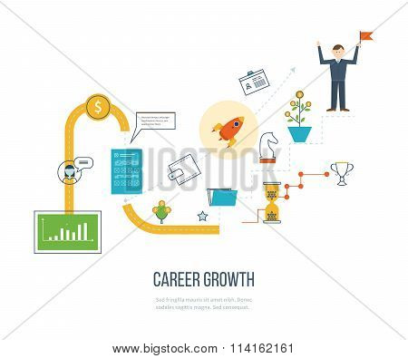 Career growth, selecting candidates. Financial strategy concept.