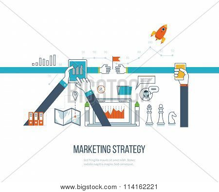 Marketing strategy and content marketing.  Investment management. Thin line design