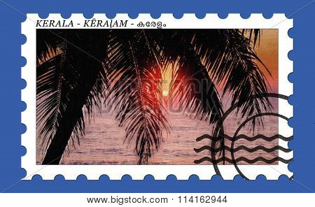 Holiday Stamp India Kerala 'Palm Silhouette and Sunrise'