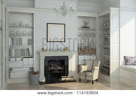 White Winter Interior,fireplace, Books. 3D Render