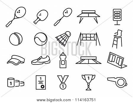 tennis, ping pong and badminton icons