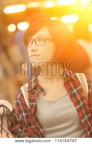 Shopping young girl of Asian at mall in Taipei, Taiwan.