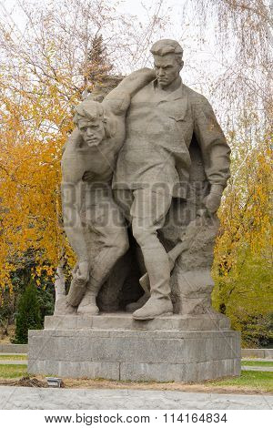 "Sculptural Group ""having Stood We Defeated Death"" In The Square Of Heroes Historical Memor"