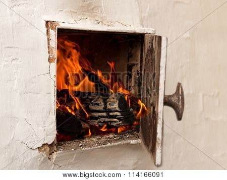 Open White Door, Rustic Stoves, Burning Wood And Fire