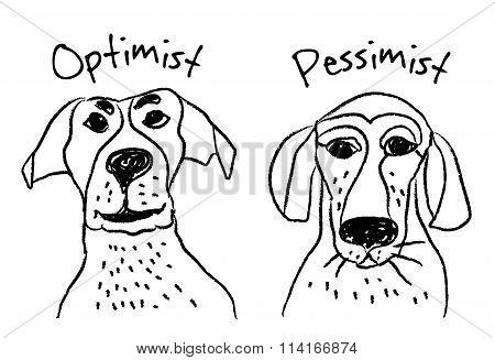 Dog faces emotions optimism pessimism.