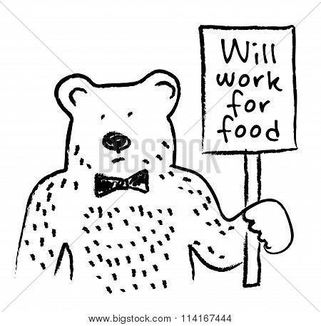 Job search bear and plate sign.