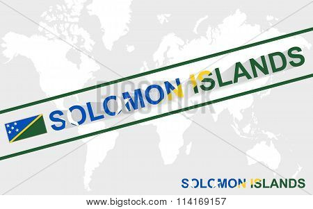 Solomon Islands Map Flag And Text Illustration