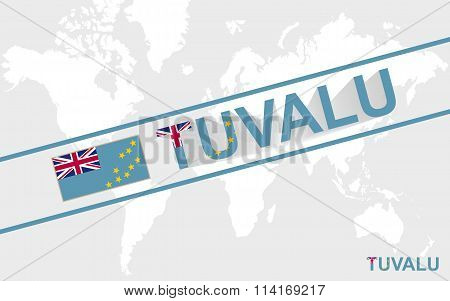 Tuvalu Map Flag And Text Illustration