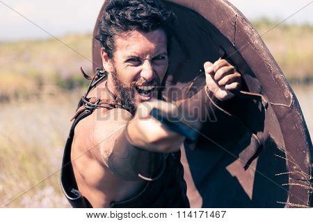 Fighting Ancient Warrior In Armor With Sword And Shield