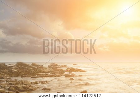 It is landscape of rock coast and beautifful cloud.