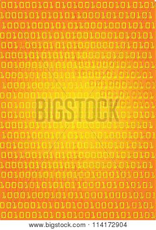 Binary Code Orange Background