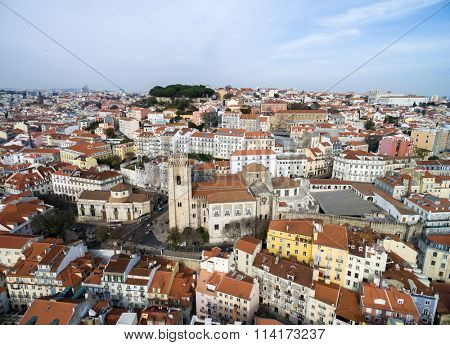 Aerial View of Alfama and the Santa Maria Maior (or Se Cathedral) the oldest church in the city of Lisbon, Portugal
