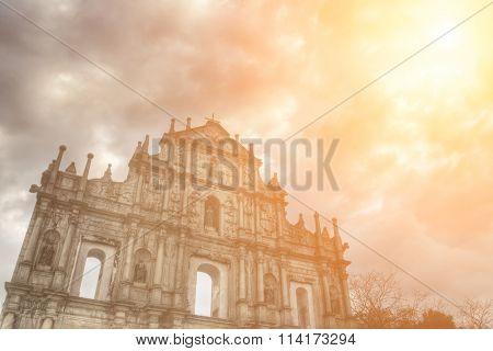 Ruins of St. Paul's, the famous landmark in Macau, China.