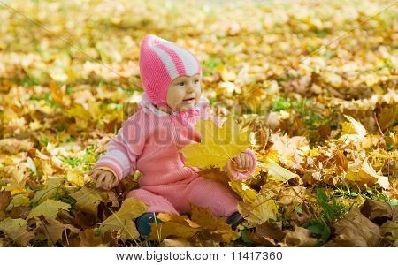 Baby  In  Yellow Autumn Leaves