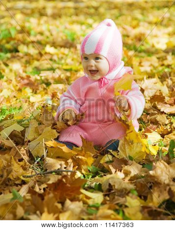 Baby  Playing With Autumnal Leaves