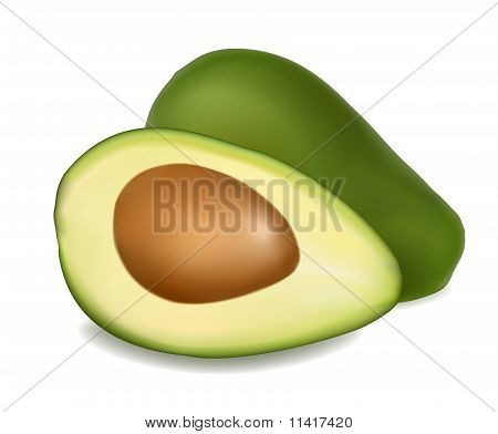 Two halves of avocado. Isolated on white background