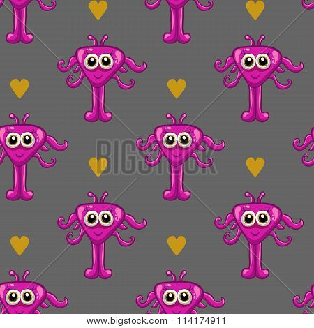 Seamless Pattern With Cute Monster-3