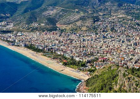 Panoramic view of Alanya and Cleopatra beach from Alanya Castle