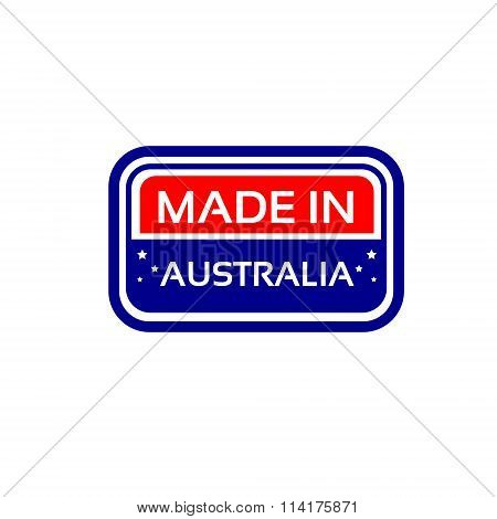 Made In Australia Flag Color Stamp