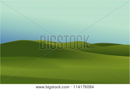 Rural landscape with green hills