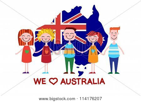 Australia Day National Flag Map Children Kids Love Country