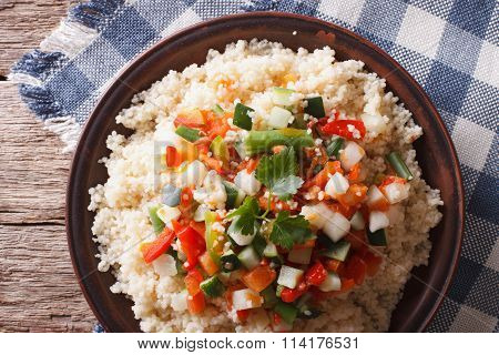 Asian Couscous With Vegetables. Horizontal Top View