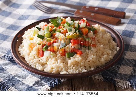 Asian Couscous With Vegetables Close-up. Horizontal