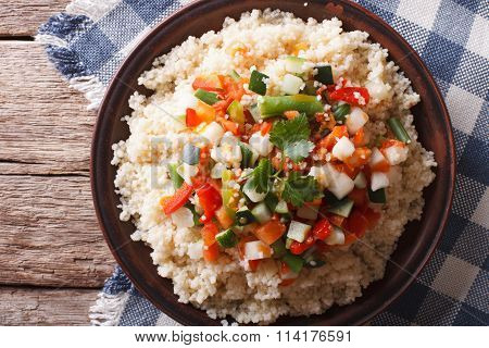 Asian Couscous With Vegetables Close-up. Horizontal Top View