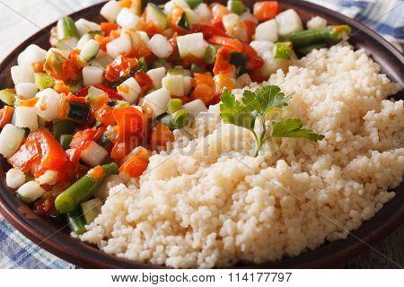 Couscous With Stewed Vegetable Salad Macro. Horizontal