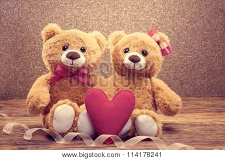 Valentines Day. Love heart. Couple Teddy Bears