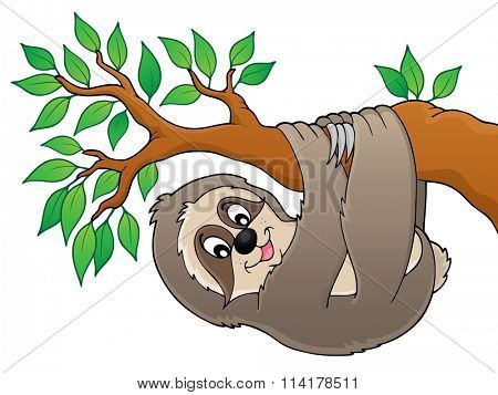 Sloth on branch theme image 1 - eps10 vector illustration.
