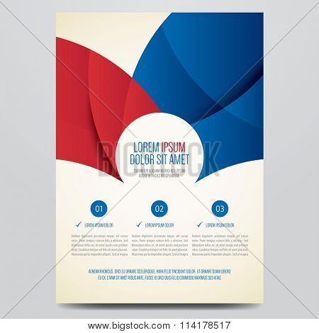 Flyer, brochure, annual report, magazine cover vector template. Modern red and blue corporate design.